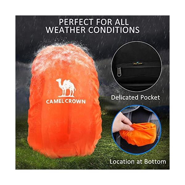 CAMEL CROWN 50L Mochila de Senderismo con Cubierta Impermeable Mochila de Escalada Daypack de Gran Capacidad para Viaje Deporte Montañismo Trekking Acampada al Aire Libre 2