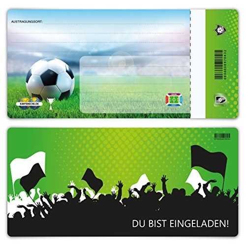 Einladungskarten Erwachsene jeder Anlass Geburtstag 12 Stück Karten - Fußball Ticket Grün