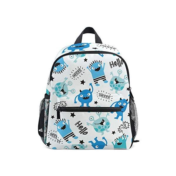 Alino – Mochila escolar con diseño de monstruos, color azul, para niños y niñas