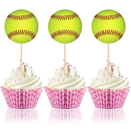 48 Pieces Softball Themed Cake Toppers Yellow Baseball Cupcake Picks Birthday Cake Decorations Cupcake Toppers for Men Boys Girls Sports Party Supplies Decor Ornament Wedding Plates Games Sticks