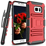 Jeylly Galaxy S7 Holster Clip Case, Samsung Galaxy S7 Case, [Armor Shield][Kickstand] Heavy Duty Full Body Shock Absorbing Hard Rugged Case for Samsung Galaxy S7 S VII G930 GS7 All Carriers [Red]