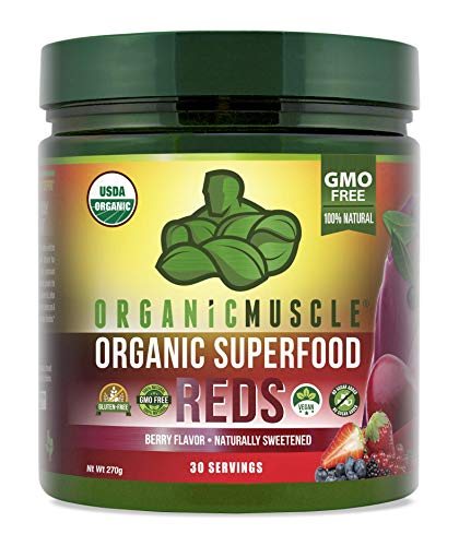 Organic Muscle Superfood Reds   USDA Certified Organic Red Juice Powder   For Energy, Focus & Digestion   Berry Flavor   30 Servings