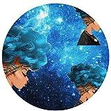 Odelia Palmer Space Afro Girl Blue Hairs paillassons, Tapis de Sol Rond entrée entrée Tapis de Porte Avant, Tapis de Bureau, décor extérieur intérieur