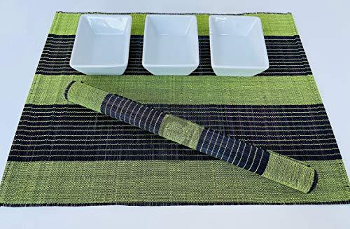 P082 Lot de 4 sets de table en bambou faits à la main en bois respectueux de l'environnement Violet/bleu