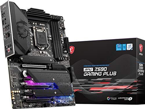 MSI MPG Z590 Gaming Plus Gaming Motherboard (ATX, 11th/10th Gen Intel Core, LGA 1200 Socket, DDR4, PCIe 4, CFX, M.2 Slots, USB 3.2 Gen 2, DP/HDMI, Mystic Light RGB)