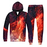 VEZAD Store Men's 2pc Tracksuit Outfit Casual 3D Galaxy Print Hoodie Sweatshirt Pants Set Red