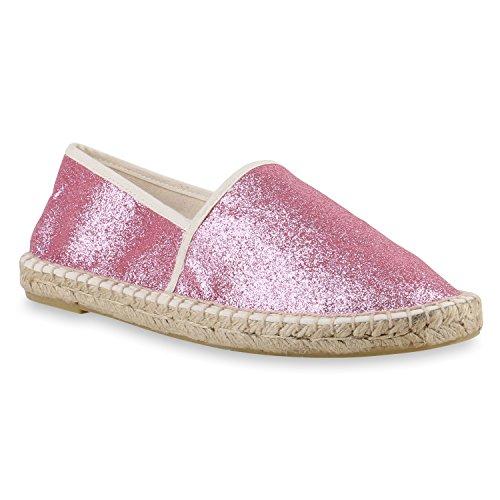 stiefelparadies Damen Slipper Flats Bast Espadrilles SpitzeFlache Freizeit Glitzer Pailletten Schnürer Espadrille Schuhe 143479 Pink Shiny 38 Flandell