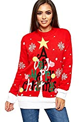 WearAll Women's Knitted Merry Christmas Jumper