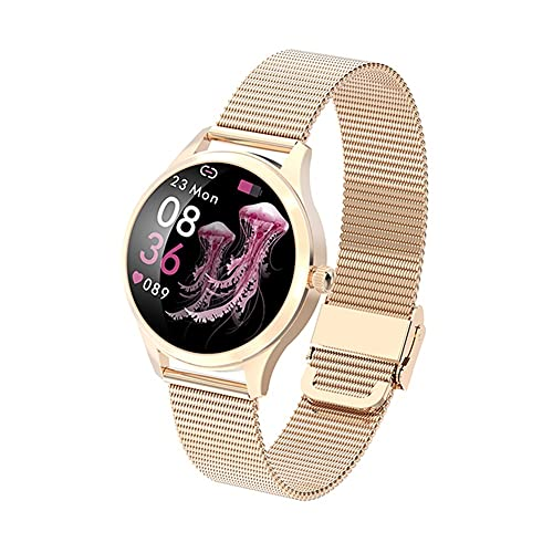Touch Touch Full Smart Watch Mujeres IP68 Impermeable Pulsera Fitness Pulsera de Acero Inoxidable Monitor de Ritmo cardíaco Smartwatch para Mujer (Color : Mesh Rosegold)