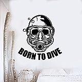 Nacido en buceo letras cartel de pared deportes de buceo etiqueta de la pared buzo con máscara vinilo etiqueta de la pared club de buceo decoración etiqueta de la pared A3 57x59cm