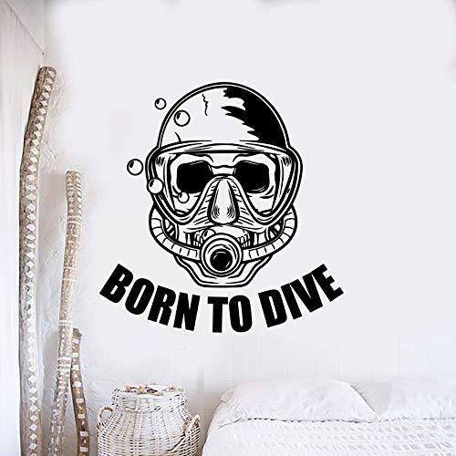 Nacido en buceo cartel de pared con letras deportes de buceo etiqueta de la pared buzo con mscara vinilo etiqueta de la pared club de buceo decoracin etiqueta de la pared A9 42x43cm