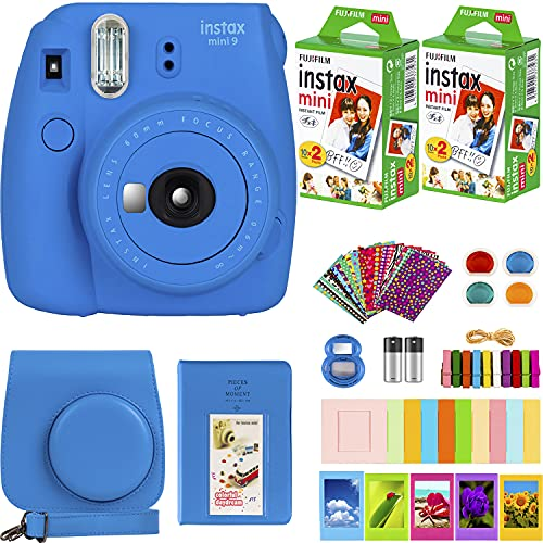 FujiFilm Instax Mini 9 Instant Camera + Fujifilm Instax Mini Film (40 Sheets) Bundle with Deals Number One Accessories Including Carrying Case, Color Filters, Photo Album + More (Cobalt Blue)