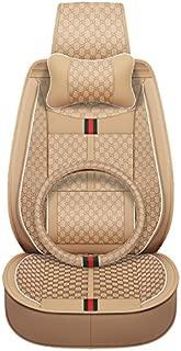 MuYiHan Luxury Car Seat Cover Four Seasons Universal Car Cushion with Waist for Business Man/Women (Beige)