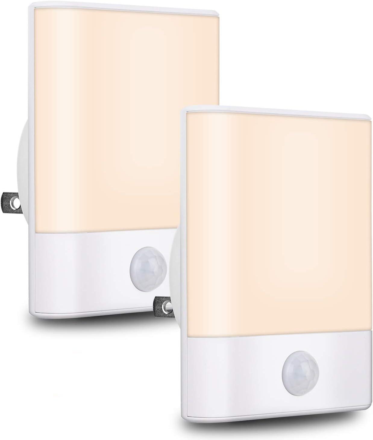 LED Night Light,BriVIVI Motion Sensor Night Light with Adjustable Brightness 3 Lighting Mode AUTO/ON/Off for Children, Bedroom, Hallway Light, 2 Pack
