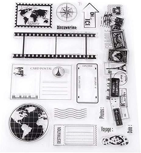 Ejoyous Transparent klarer Silikonstempel/Siegel, Erdkarte Reisethema Muster Gummidichtung Briefmarke für Bullet Journals Kartenherstellung Dekoration, Scrapbooking, Scrapping und Journale