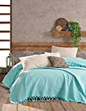 BOHORIA® Colcha premium 220 x 240 cm | 100% algodón | Oeko-Tex® | Manta reversible para sofá en aspecto de gofre, extragrande (The Urban Loft) (Aqua)