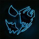 EL Cold Light Illumination Line Máscara Pintada a Mano LED Prom Party Halloween Street Dance Máscara Brillante Azul Oscuro