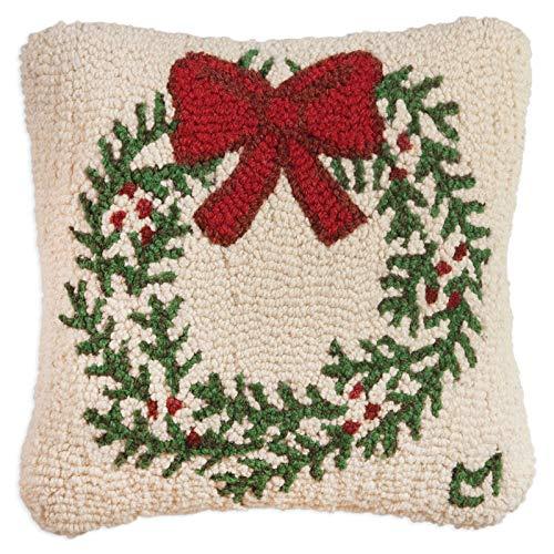 "Chandler 4 Corners Artist-Designed Wreath Hand-Hooked Wool Decorative Christmas Throw Pillow (14"" x 14"")"