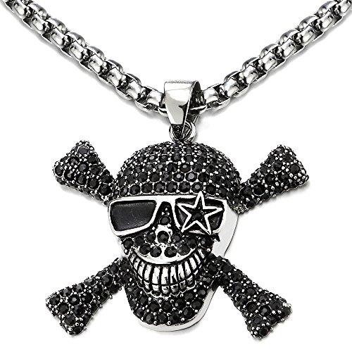 COOLSTEELANDBEYOND Grande Pirata Calavera Cráneo de Azúcar, Collar con Colgante Hombre Mujer, Acero, Negro Circonita, 75cm Cadena de Trigo