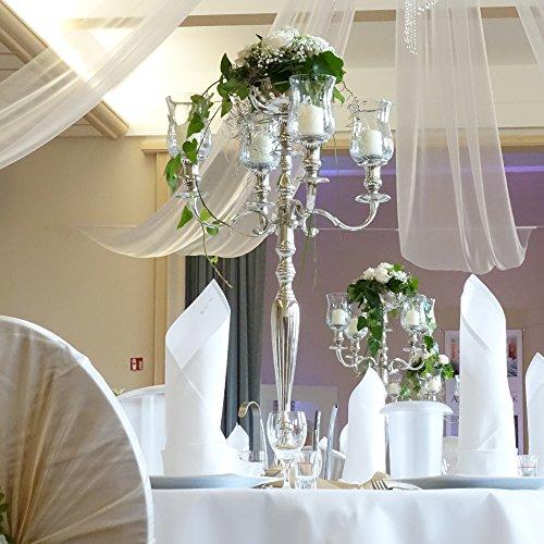 Dekowelten Kerzenleuchter Kerzenständer 90cm für Wedding Hochzeit inkl. 4 x Glasaufsatz + Blumenschale silbern