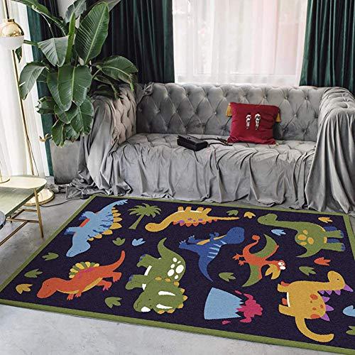 GJXY Los niños Varones los niños Chicos alfombras alfombras de Dinosaurios Alfombra Cuarto de niños de guardería Dino salón Dormitorio Alfombra Alfombra Alfombra Azul Oscuro,80 * 160CM