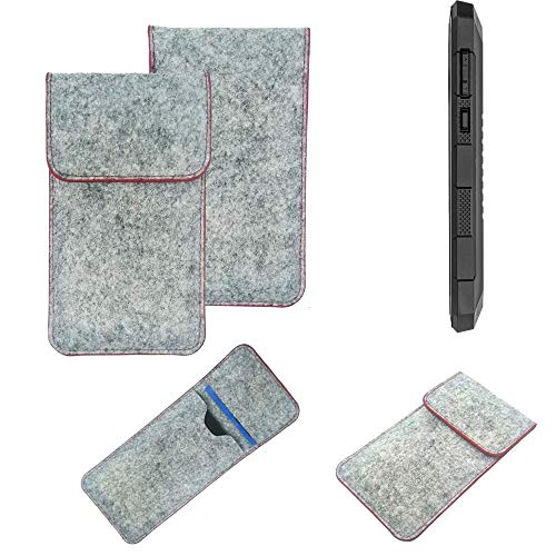 K-S-Trade® Handy Schutz Hülle Für Cyrus CS 24 Schutzhülle Handyhülle Filztasche Pouch Tasche Hülle Sleeve Filzhülle Hellgrau Roter Rand