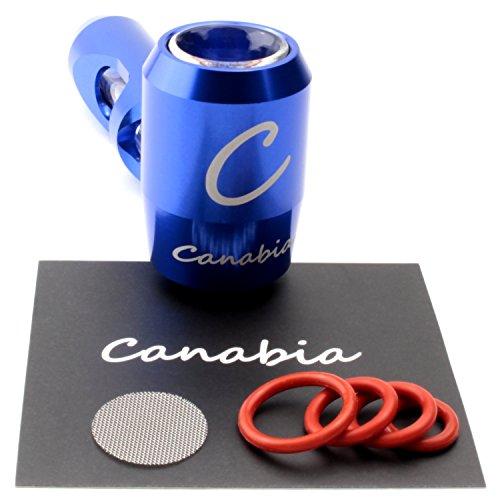 Canabia Metal Pipe - Steamroller - Kräuter und Tabak-Pfeife - Aluminium Exoskelett mit Glasrohrführung - Im tragbaren Design - Metallpfeife - Glaspfeife - Tabakpfeife (Blau)
