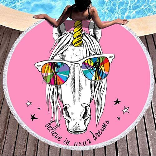 YxueSond Roundie strandhanddoek droom eenhoorn met zonnebril Roze absorberend badstof badhanddoek mat
