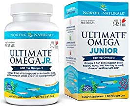 Nordic Naturals Ultimate Omega Jr, Strawberry - 90 Mini Soft Gels - 680 Total Omega-3s with EPA & DHA - Brain Health, Mood, Learning - Non-GMO - 45 Servings