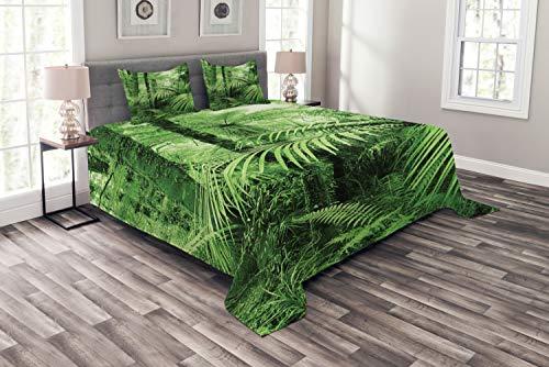 ABAKUHAUS Regenwald Tagesdecke Set, Palmen exotische Pflanzen, Set mit Kissenbezügen Mit Digitaldruck, für Doppelbetten 264 x 220 cm, Grün