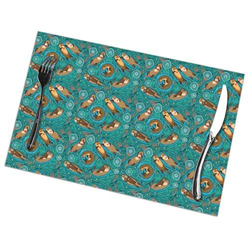 Gao808yuniqi Otters in Love_Green Colors - Juego de manteles individuales impresos en 3D, 6,18 x 12, manteles individuales para aperitivos, manteles individuales para bebidas, manteles individuales para mesa de comedor, manteles individuales de cocina, Blanco, Una talla