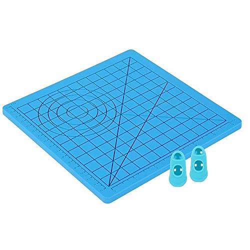 Tappetino in Silicone 3D, Tappetino per Penna per Stampa 3D, Tampone in Silicone Modello Penna Disegno 3D con 2 Manicotti di Protezione per Dita per Bambini e Principianti