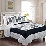 Fancy Collection 3pc Bedspread Bed Cover Reversible New (King/California King, Black,Grey, White)