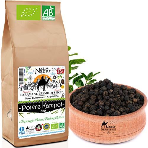 Nabür - Poivre Noir de Kampot BIO 105gr ⭐ Grade A - Poivre du Cambodge IGP , Récolte 2020 ⭐ Agriculture biologique