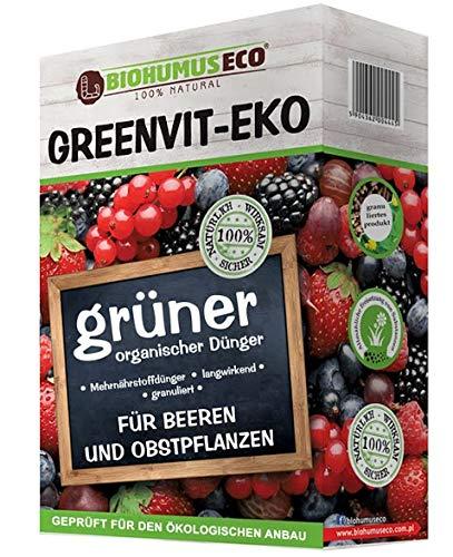 GREENVIT-EKO organische Mischdünger-granuliert, beeren und obstpflanzen, BIOHUMUSECO 100% Natural, 1 kg, Weiß