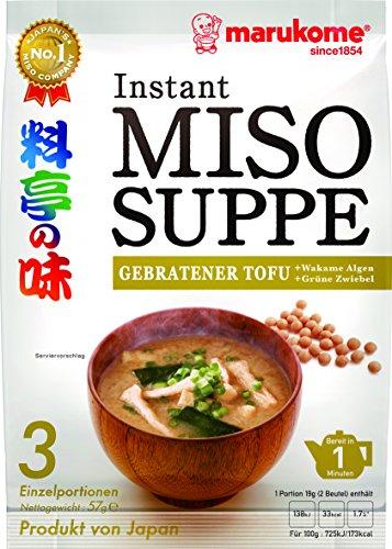 Marukome Instant Miso-Suppe (aus Japan, mit gebratenem Tofu, MSG frei, schnelle Zubereitung), 1er Vorteilspack 57 g