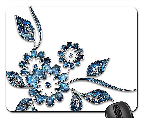 Mouse Pad - Decor Ornament Jewelry Flower Blue Silver 19