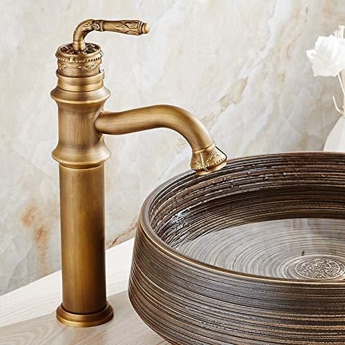 Mezclador de lavabo extendido de estilo rústico Mezclador de lavabo de baño Mezclador de lavabo de encimera alto Mezclador monomando con grifo de latón de alto caño Bronce antiguo cepillado