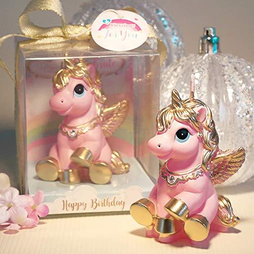 nzb Vela De Unicornio para Cumpleaños Y Bodas - Topper De Pastel De Vela De Unicornio Caja De Regalo - Vela De Decoración De Pastel De Unicornio Elegante para Cualquier Ocasión,Pink