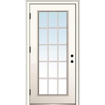 Amazon Com National Door Company Zz364611r Steel Primed Right Hand Outswing Prehung Door Clear Glass 15 Lite External Grilles 30 X80 Industrial Scientific