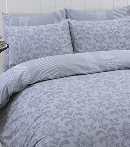 Linen Zone 100% Cotton Reversible Printed Duvet Cover Set, Double - Istambul Silver
