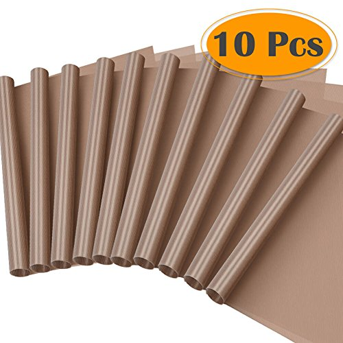 "Selizo 10 Pack PTFE Teflon Sheet for Heat Press 16"" x 24"" Non Stick Heat Resistant Craft Mat"