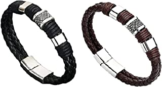 Magnetic Man Charm Masculinity Leather Bracelet, Stylish Double Wrap Braided Bracelets, Bracelet Magnet Closure, Boosts Bl...