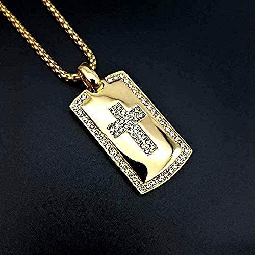 ZJJLWL Co.,ltd Collar Cruz Collar Color Dorado Acero Inoxidable 316L con circón Biblia Cruz Colgante Cadena para Hombres Joyería