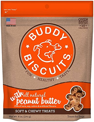 BUDDY BISCUITS Dog Treat Soft Chewy Peanut Butter Flavor 6z Natural Preservative