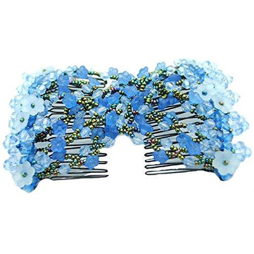 Contever - Pettine elastico per capelli con fiocco magico a doppia clip, per donna/donna, colore: blu