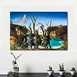 Arte en lienzo Salvador Dali Pintura Cisnes que reflejan elefantes Cuadros de pared...