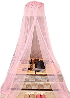 Miseku Bed Canopy,Round Bed Lace Curtain Princess Hanging Dome Mosquito Net for Girls Bed,Princess Play Tent Reading Nook