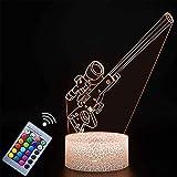 Lámpara de noche de ilusión 3D para niños, regalo de francotirador para niña, luz nocturna 3D para niños, 16 colores cambiantes de acrílico LED luz de noche, regalo de cumpleaños