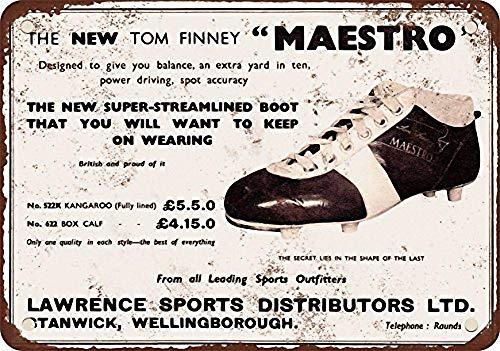 Tom Finney Fußballschuhe Leichtmetall Blechschild robust und langlebig Retro Look verblasst nie 20 * 30 cm